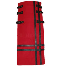 Interchangeable Utility Kilt Front Panel Red Black Leather Double Cross Snap Design