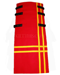 Interchangeable Utility Kilt Front Panel Red Yellow Stripes Double Cross Snap Kilt