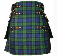 Interchangeable Black Watch Soft Cotton Tartan Cargo Utility Kilts