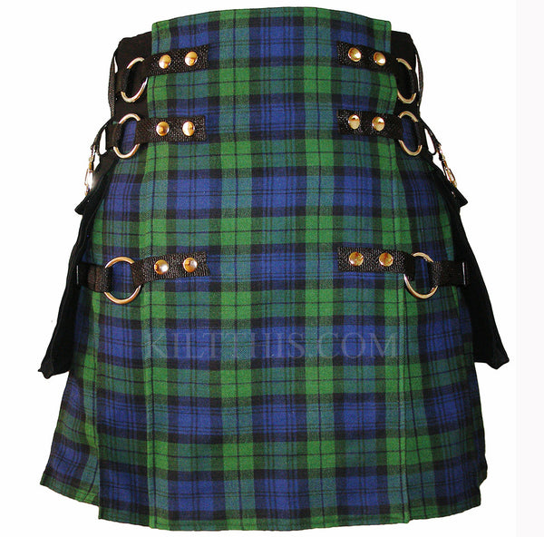 Black Watch Soft Cotton Tartan Cargo Utility Kilts Interchangeable