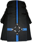 Interchangeable Utility Kilt Front Panel Black with Blue Cross
