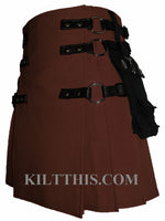 Brown Canvas Cargo Utility Kilt Interchangeable