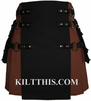 Brown and Black Canvas Cargo Utility Kilt Interchangeable