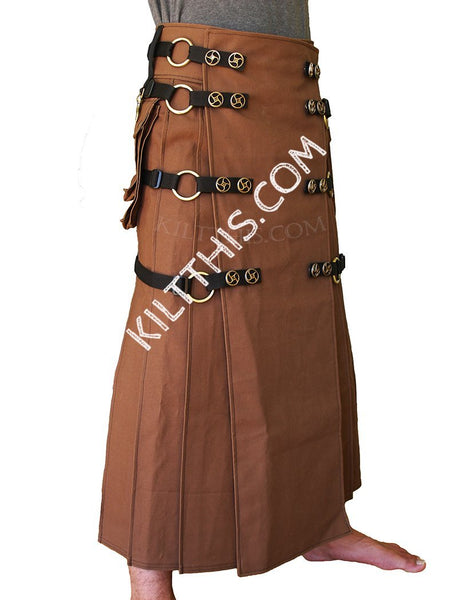 Customize Utility Kilt Long Floor Length Wrap Brown Kilt