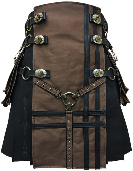Interchangeable Black Canvas Cargo Utility Kilt Brown Y Design