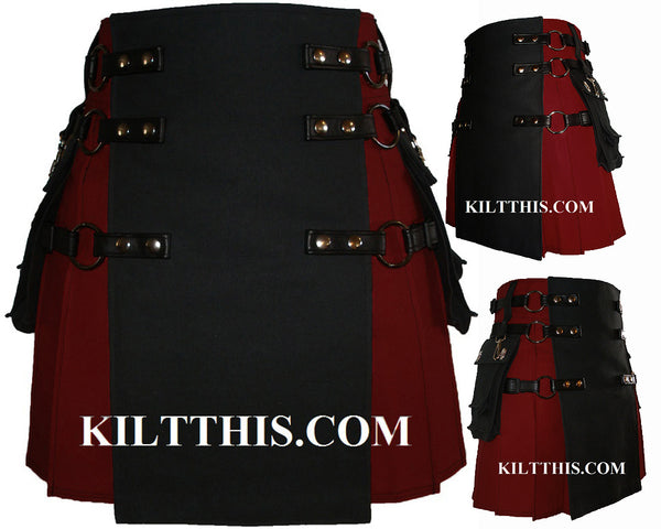 Burgundy and Black Canvas Cargo Utility Kilt Interchangeable