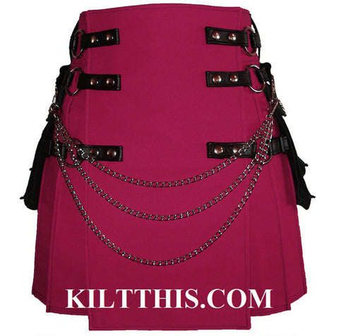 Interchangeable Fuschia Pink Canvas Cargo Utility Kilt