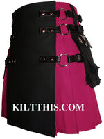 Fuschia Pink Black Canvas Cargo Utility Kilt Interchangeable