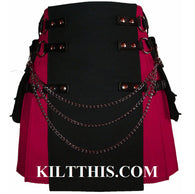 Interchangeable Fuschia Pink Black Canvas Cargo Utility Kilt