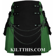Interchangeable Green Grass and Black Canvas Cargo Utility Kilt