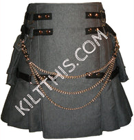 Interchangeable Grey Fleece Cargo Utility Kilt