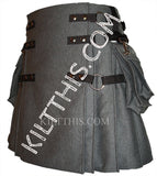 Simple Gray Fleece Cargo Utility Kilt Interchangeable