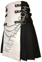 Customize Utility Kilt Leather Vest with Priest Collar Suit