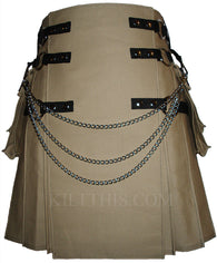 Interchangeable Khaki Canvas Cargo Utility Kilt