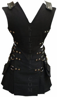 Interchangeable Black Canvas Vest and Black Canvas Utility Kilt Set