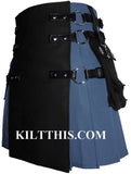 Interchangeable Light Blue With Black Canvas Cargo Utility Kilt