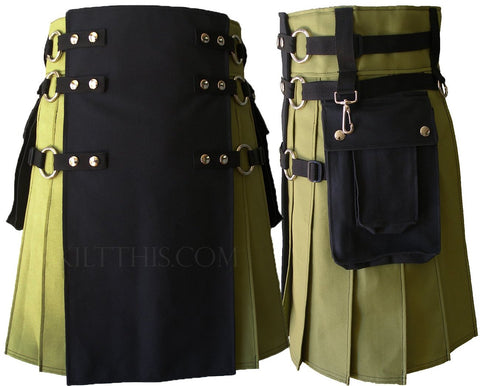 Lime Green and Black Cargo Utility Kilt Interchangeable