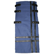 Interchangeable Utility Kilt Front Panel Dark Blue Black Leather Double Cross Snap Kilt