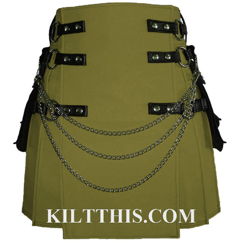 Interchangeable Olive Canvas Cargo Utility Kilt