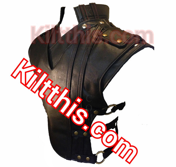 Baddie leather vest with priest collar by KiltThis 1