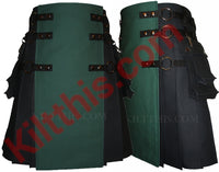 Black and Hunter Green Canvas Cargo Kilt Interchangeable by Kilt This 7