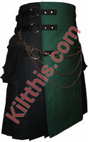 Black and Hunter Green Canvas Cargo Kilt Interchangeable by Kilt This 6
