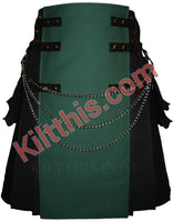 Black and Hunter Green Canvas Cargo Kilt Interchangeable by Kilt This 5