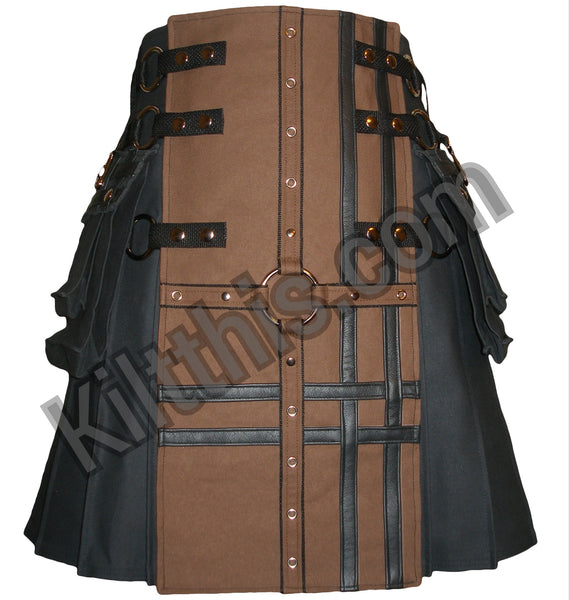 Black Brown Canvas Cargo Kilt Grommet Cross Design Interchangeable Adjustable Kilt This 1