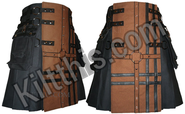 Black Brown Canvas Cargo Kilt Grommet Cross Design Interchangeable Adjustable Kilt This 2