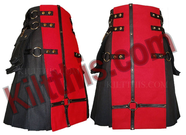 Black Red Canvas Cargo Utility Kilt Leather Cross Design Adjustable Interchangeable
