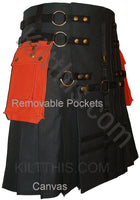 Black Cargo Utility Kilt Black Cross Design Interchangeable Adjustable