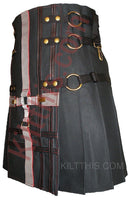 Black Cargo Utility Kilt Black Grey Cross Design Interchangeable Adjustable