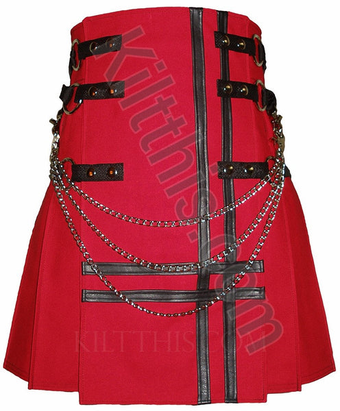 Red Cargo Utility Kilts Black Leather Double Cross Adjustable Interchangeable