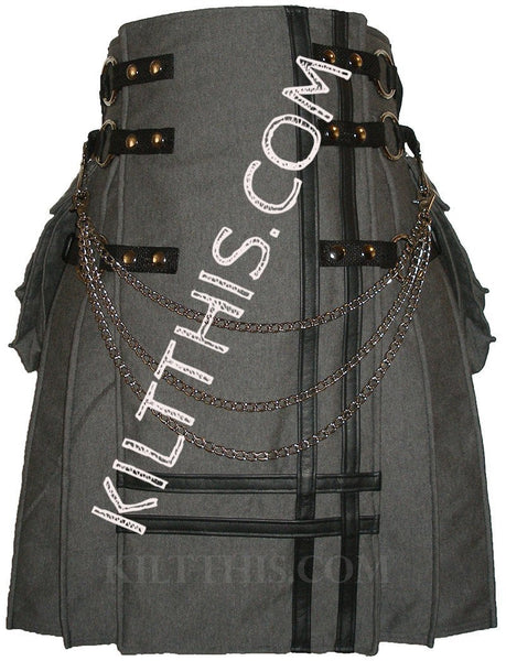 Grey Fleece Cargo Utility Kilt Black Leather Double Cross Adjustable Interchangeable