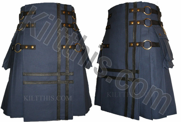 Navy Blue Cargo Utility Kilt Leather Double Cross Design Interchangeable Adjustable