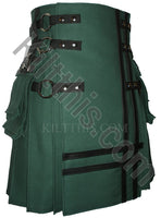 Hunter Green Canvas Cargo Utility Kilt Leather Double Cross Design Interchangeable Adjustable