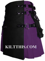 Purple Black Canvas Cargo Utility Kilt Interchangeable