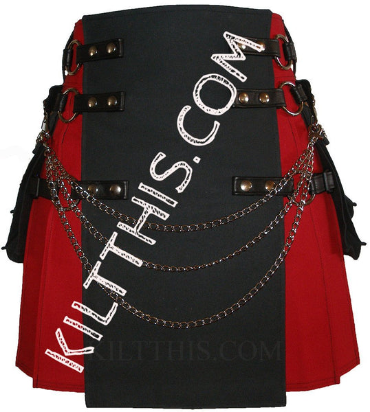 Interchangeable Red and Black Canvas Cargo Utility Kilt