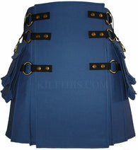 Interchangeable Royal Blue Canvas Cargo Utility Kilt