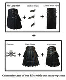 Simple Interchangeable Black Canvas Cargo Utility Kilt with Chains