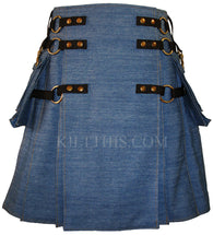Interchangeable Blue Jean Denim Cargo Utility Kilt