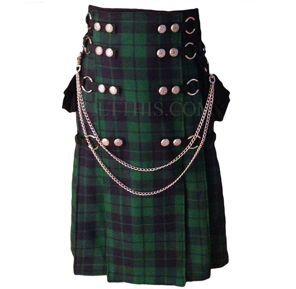 Interchangeable Black Watch Tartan Full Length Utility Kilt