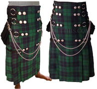 Black Watch Tartan Full Length Utility Kilt Interchangeable