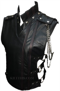 Women's Baddie Black Leather Vest