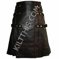 Interchangeable Black Leather Utility Kilt Leather Vest Leather Sleeves Suit