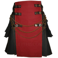 Interchangeable Black Burgundy Canvas Cargo Utility Kilt