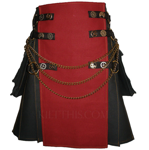Black and Burgundy Canvas Cargo Utility Kilt Interchangeable