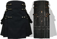 Interchangeable Black Cotton Snap Utility Kilt and Black Cross Front Panel