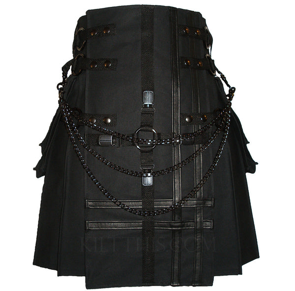 Interchangeable Black Canvas Cargo Utility Kilt Cross Design Leather Double Cross Design