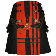 Black Orange Canvas Cargo Utility Kilt Medieval Cross Design